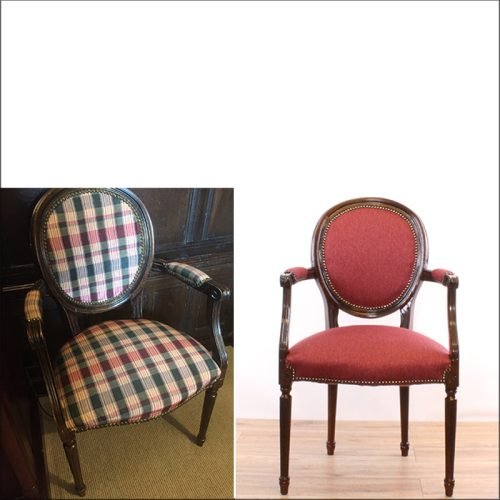 Reupholstered hotel chair