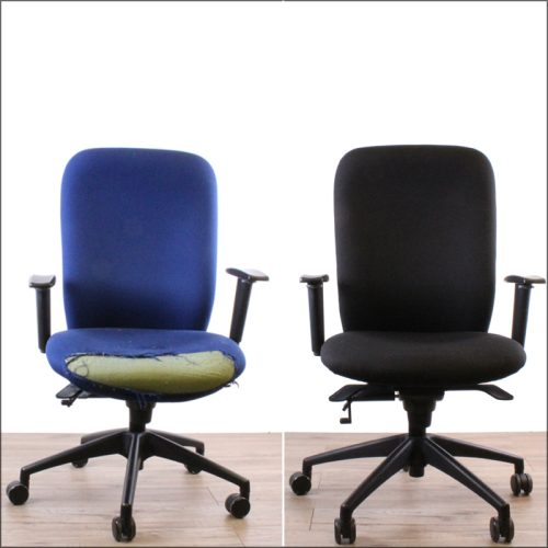 Office chair reupholstery - before and after