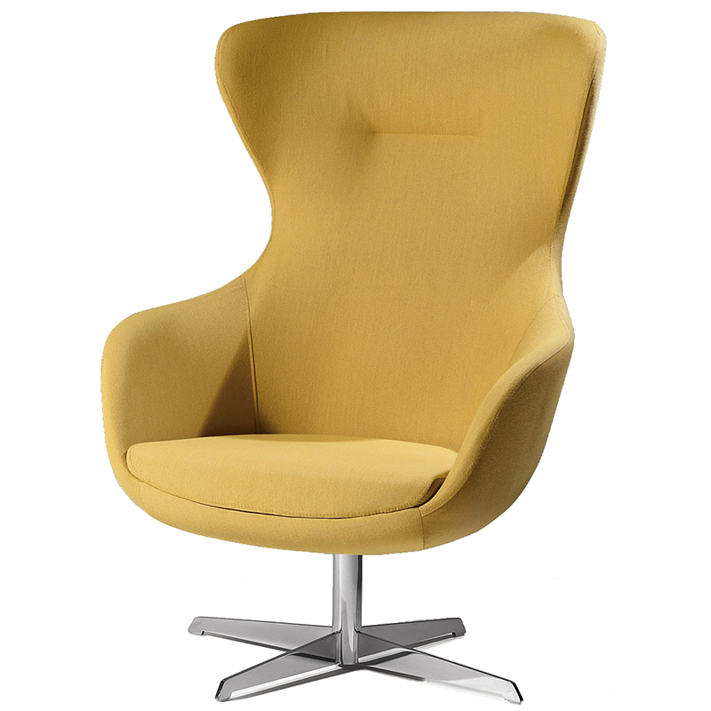 Yellow high-backed chair with metal four star base