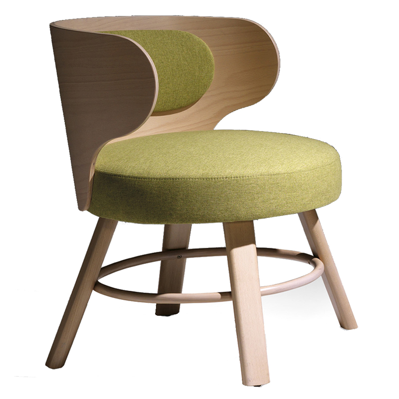 Green chair with wooden back