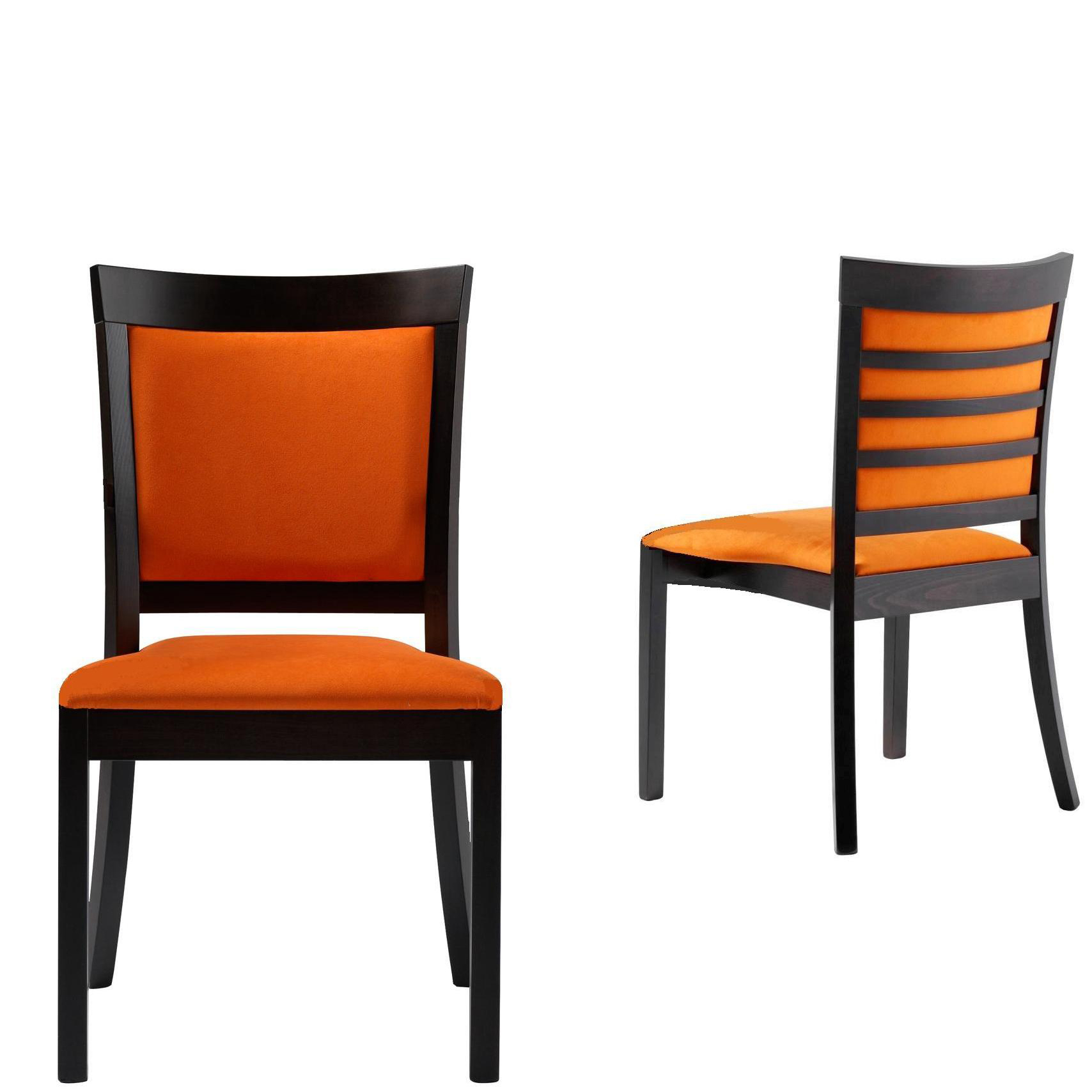 Two orange and black chairs