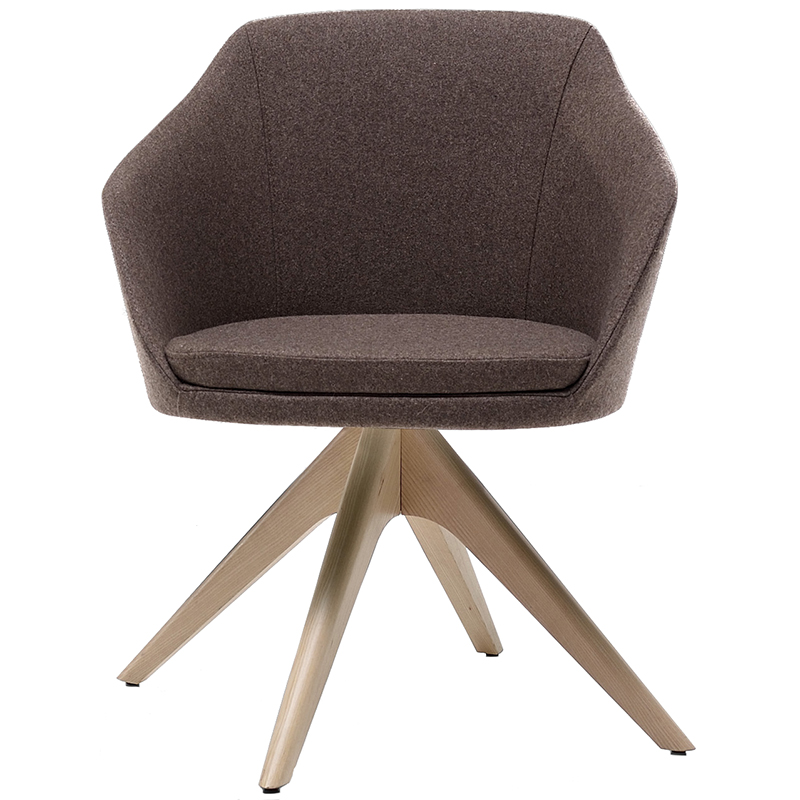 Brown chair with wooden star base