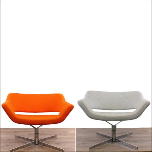 Swivel meeting chair reupholstery - before and after