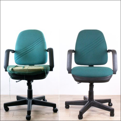 Task chair reupholstery - before and after