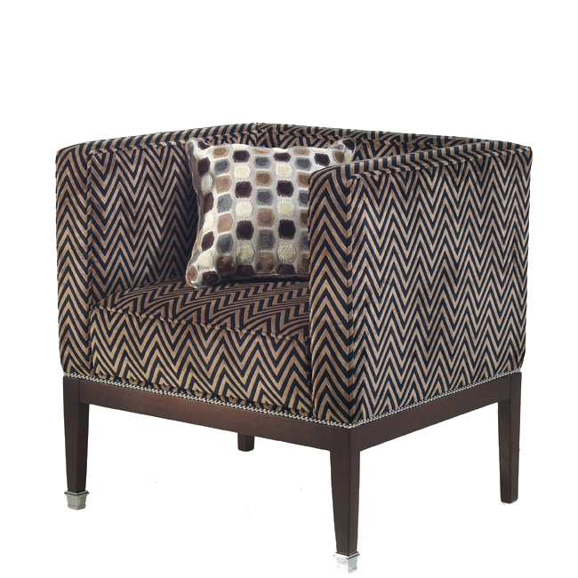 Cube-style armchair with a brown zigzag pattern