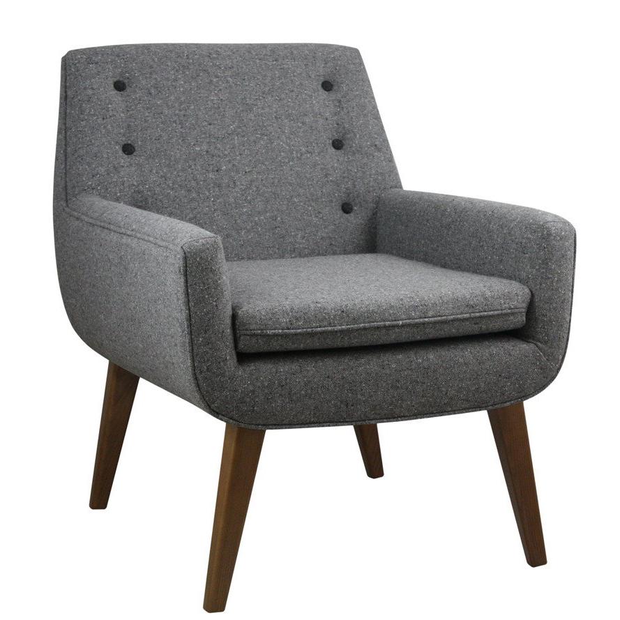 Grey armchair with studded back