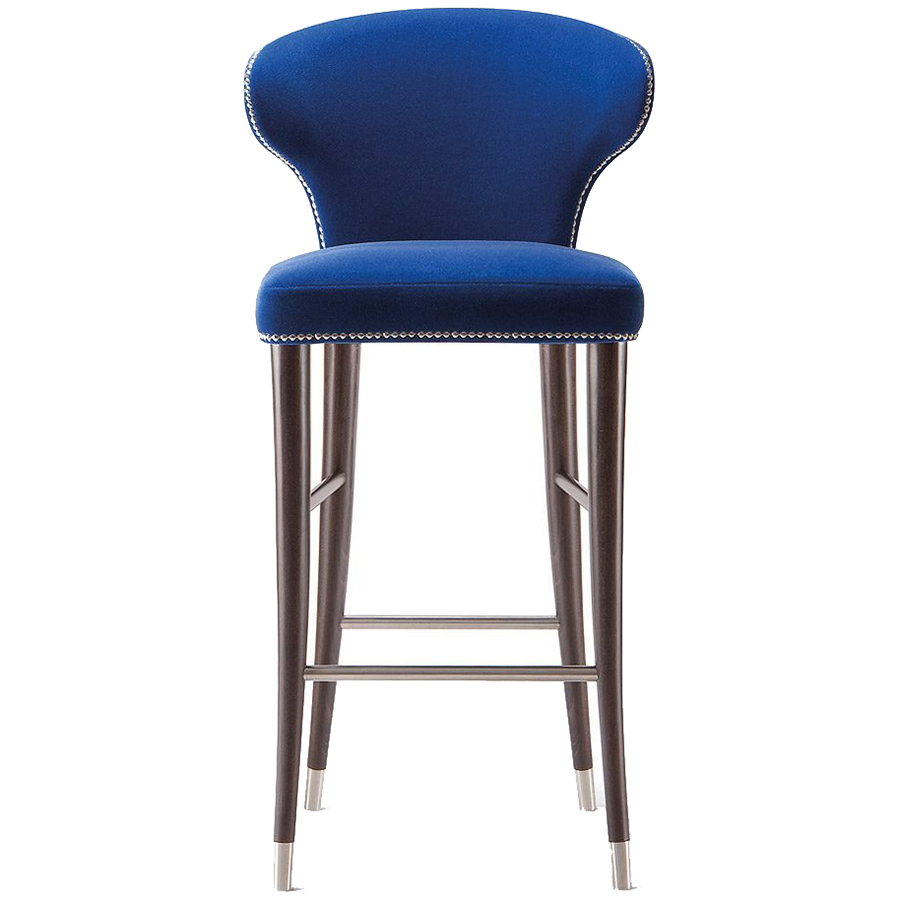 Blue bar stool with silver studs