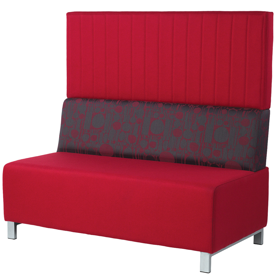 Red high-backed banquette seating