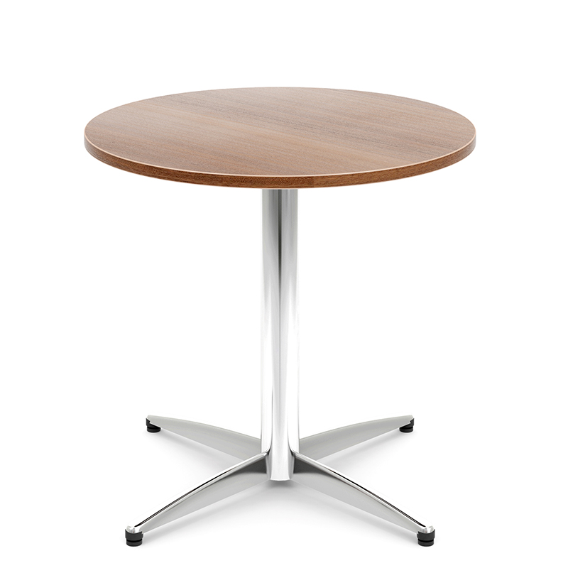 Round wooden table with chrome four-star base