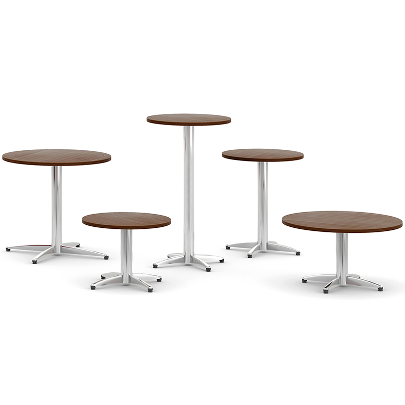 5 round tables in various sizes and heights
