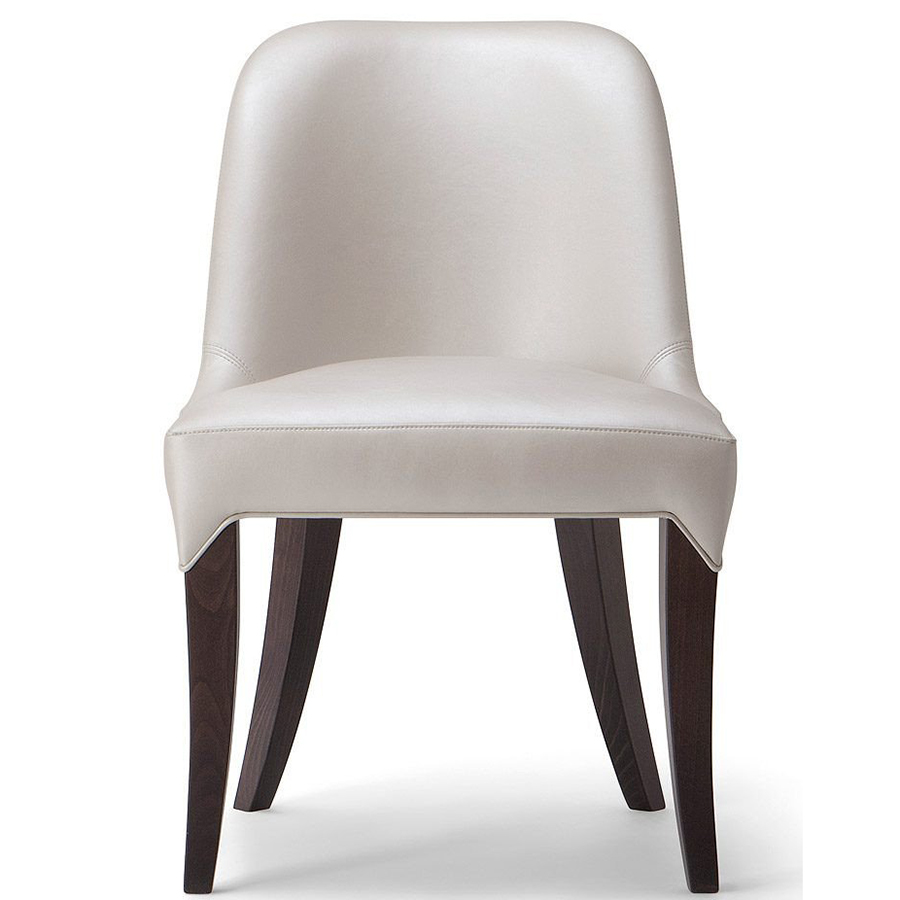 White side chair with wooden legs